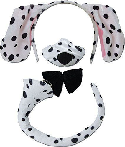 Bristol Novelties Adult Hen Night Dalmatian Headband Ears Nose Bow Tie Tail One Size Dalmatian Set (Dalmatian Costume Ears And Tail)