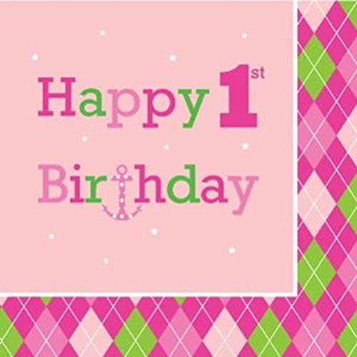 Creative Converting Ocean Preppy Girl Happy 1St Birthday Luncheon Napkins, 16-Count
