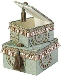 Jennifer Taylor Square Box, 9-7/8 by 9-7/8 by 6 1/3-Inch, Cover 100-Percent Polyster, Set of 2