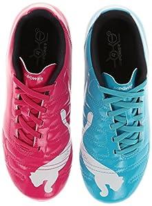 PUMA Evopower 4 R Hard Ground JR Soccer Shoe (Little Kid/Big Kid),Beetroot Purple/Bluebird/White,6 M US Big Kid