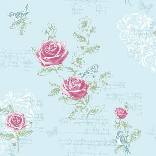 Jenny Wren - Duck Egg - Shabby Chic - Rose - Birds - Music - Wallpaper