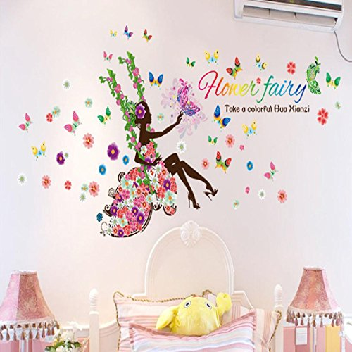 Hatop New Removable DIY Butterfly Flower Fairy stickers Bedroom Living Room Walls (C) (One Direction Number Clock compare prices)