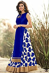 RADIATO ES New Fancy HIGH Quality Fabric Blue And White Flower Print Indo Western Lehenga