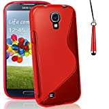 Mobile-Heaven Samsung Galaxy S4 Case Premium Gel S-Line Silicone Protective Cover for Samsung Galaxy S4 i9500 Case Includes Screen Protector with Microfibre Cleaning Cloth + Touch Stylus Pen (Red)