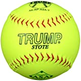 Trump® AK-RP-ASA-Y AK Series 12 Inch Red Stitch Yellow Synthetic Leather Softball with ASA Stamp (Sold in Dozens)