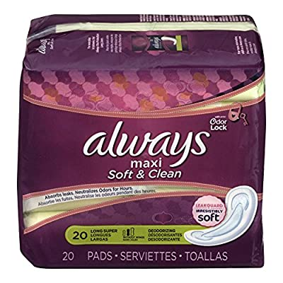 Always Maxi Soft and Clean Pads Super Non-Wing Deodorizing, 20 Count