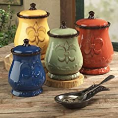Tuscany Colorful Hand Painted Fleur De Lis Canisters Set of 4 82001 by ACK