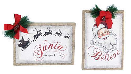 Painted Burlap Santa Stop Believe Christmas Holiday Tabletop Wall Signs Set of 2