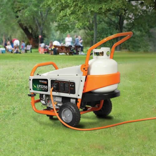 Generac 6000 LP3250 3,250 Watt 212cc OHV Portable Liquid Propane Powered Generator with Tank Holder