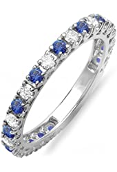 14K White Gold Blue Sapphire And White Diamond Eternity Sizeable Stackable Ring Anniversary Wedding Band