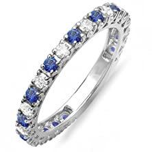 buy 10K White Gold Blue Sapphire And White Diamond Eternity Sizeable Stackable Ring Wedding Band (Size 6)