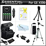"Essential Accessories Kit For GE POWER Pro series X500, X5, Power Pro X550 Digital Camera Includes 4AA High Capacity Rechargeable NIMH Batteries And AC/DC Rapid Charger + USB Reader + Deluxe Case + 50"" Tripod w/Case + Screen Protectors + MorE"