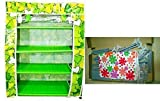 4 Layer Shoe Rack Book & Cloth Shelf Storage Multi Purpose Organ - White Cloth With Flower Pattern