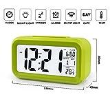 Soondar® Light-control Large Screen LCD Display Temperature Alarm Clock with Nightlight - GREEN