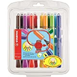 STABILO Cappi Fibre Tip Colouring Pens with Triangular Grip Zone - Assorted Colours (Pack of 12)