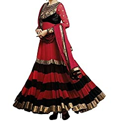 Awesome Fab Red & Black Georgette Semi-Stiched Embroidered Anarkali