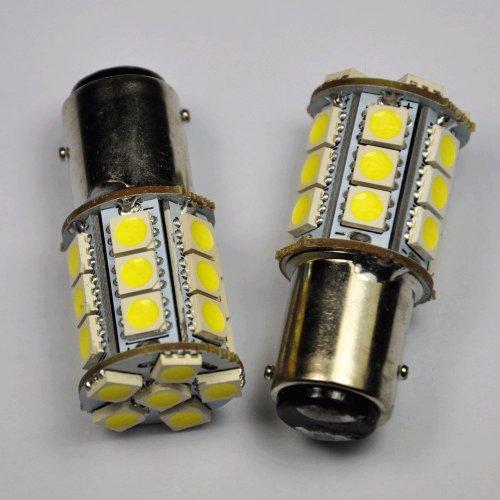 Cutequeen Led Car Lights Bulb 1157 Bay15D 5050 24-Smd Stop Brake Tail Light Bulbs 12V - White