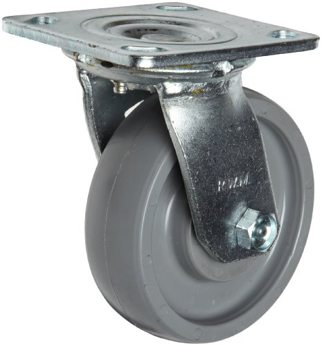 "RWM Casters 40 5"" Diameter Solid Elastomer Wheel Kingpin Medium Duty Swivel Plate Caster with Ball Bearing, 4-1/2"" Length X 4"" Width Plate, 1000 lbs Capacity Range"