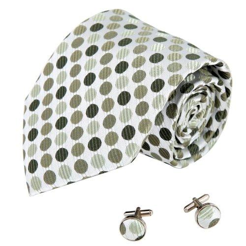 A1100 Dark Olive Green Polka Dots Working Day Presents Mens Silk Tie Cufflinks Set 2PT By Y&G