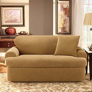 Antique Stretch Pique 3 Piece T Cushion Sofa Cover