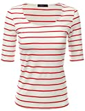 Doublju Women Soft Stripe 3/4 Sleeve Top WHITERED,S