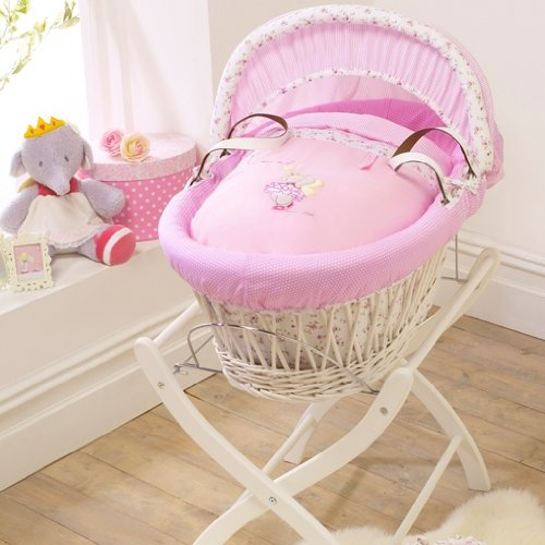 Izziwotnot Humphrey's Corner Lottie Fairy Princess Wicker Moses Basket, White
