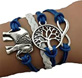 Skyllc® Charms Árbol Elefante Knit de la pulsera de la cuerda de cadena de cuero
