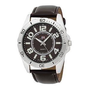 (帅)U.S. Polo Assn. Men's US5163 布朗拨棕色带手表$20.58