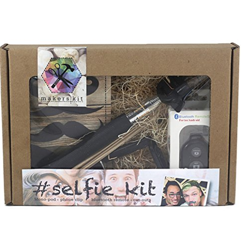 MakersKit #Selfie Kit + Bluetooth Remote, Monopod, Mustache Cutouts