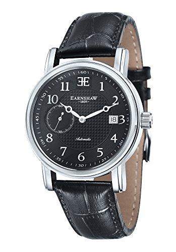 Montre FitzRoy pour homme Thomas Earnshaw avec cadran noir analogique et bracelet en cuir noir - ES-8027-01