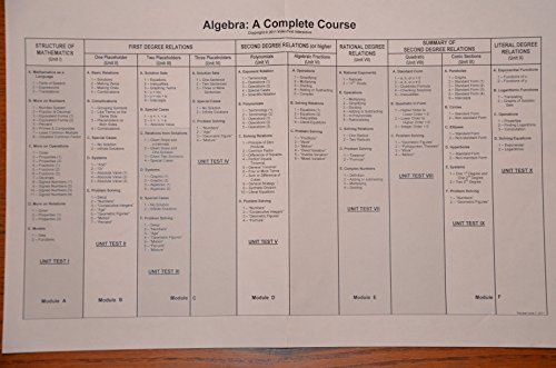 Algebra: A Complete Course: Algebra 1 and 2 (DVD Workbook Set, Module A, B, C, D, E, F) (Videotext Algebra Module D compare prices)