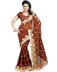 Rudra Fab Emboidered Fashion Georgette Saree (Brown)