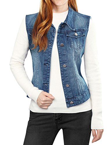 Allegra K Women's Buttoned Washed Denim Vest w Flap Pockets
