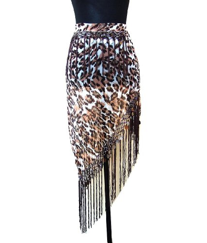 Belly Dance Triangle Chiffon Fringed Coin Hip Scarf Belt -- Brown Animal Print