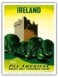 アイルランド - アイルランドの城 - パンアメリカン航空 - ビンテージな航空会社のポスター によって作成された エドワード・マックナイト・コウファー c.1953 - アートポスター - 23cm x 31cm