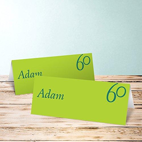 tischkarten zum 50 geburtstag meine sechzig 10 karten horizontale klappkarte 100x38 gr n. Black Bedroom Furniture Sets. Home Design Ideas