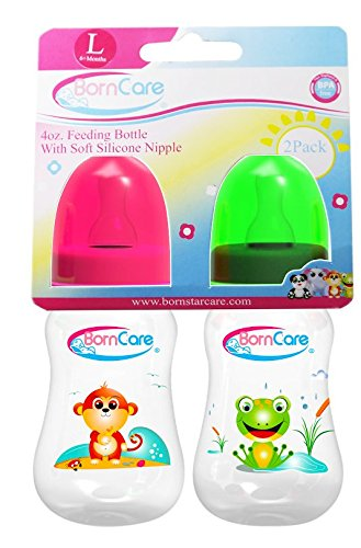 BornCare Feeding Bottle Regular Easy Grip with Silicone Nipple Fast Flow, 6 Months, 4 oz, 2 Piece