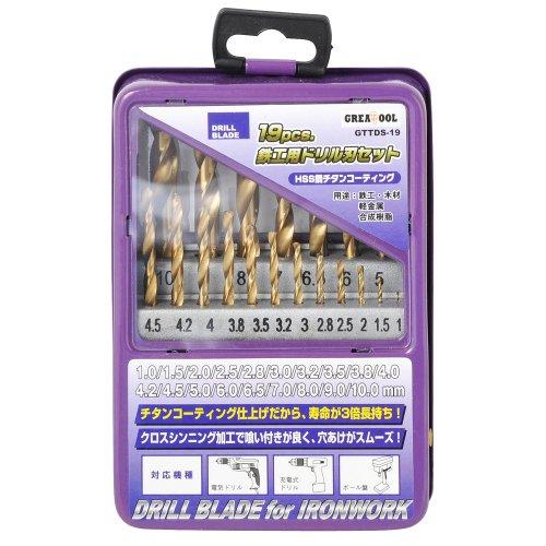 GREATTOOL 鉄工用ドリル刃セット チタンコーティング 19本組