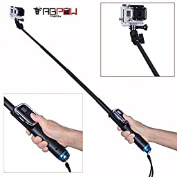 GoPro Selfie Stick, TabPow Extendable Handheld Monopod Selfie Stick With Built-in Wifi Remote Slot Housing For Gopro Hero 4, Session, Black, Silver, Hero+ LCD, 3+, 3, 2, 1