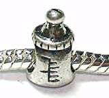 Baby Bottle - Silver Plated Charm Bead - fits Pandora, Chamilia etc style Bracelets - SpangleBead