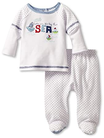 Absorba Baby-boys Newborn Dots Two Piece Footed Pant Set, Multi, 0-3 Months