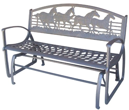 Painted Sky Designs Running Horse Iron Glider Bench