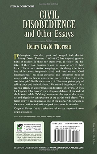 h.d thoreau civil disobedience and other essays Henry david thoreau was an american author, poet, philosopher  and his essay civil disobedience,  trees are busy having sex with other trees for a fair part of.