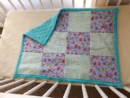 Dragonflies and Dots with Minky Baby and Toddler Quilt, Security Blanket - Lovey - Cradle, Carseat, Stroller, Travel