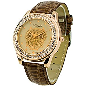 Champagne Dial Owl Women's Crystals Decorated Quartz Wrist Watch Brown Band
