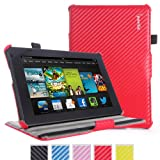 Kindle Fire HD 7(2013 OLD Model) Case - Poetic Kindle Fire HD 7(2013 OLD Model) Case [StrapBack Series] - [PU Leather] [View Stand] Protective Cover Case for Amazon Kindle Fire HD 7(2013 OLD Model) 2nd Gen (2013) 7inch Tablet Carbon Fiber Red (3 Year Manufacturer Warranty From Poetic)