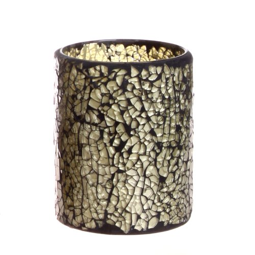 Dfl 3*4 Inch Grey Crack Patten Mosaic Glass With Flameless Led Candle With Timer,Work With 2 Aa Battery