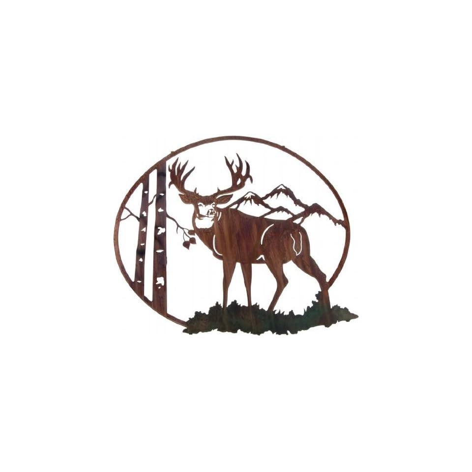 26 Lazart Metal Wall Art Wall Decor   Mule Deer with Aspen Vignette
