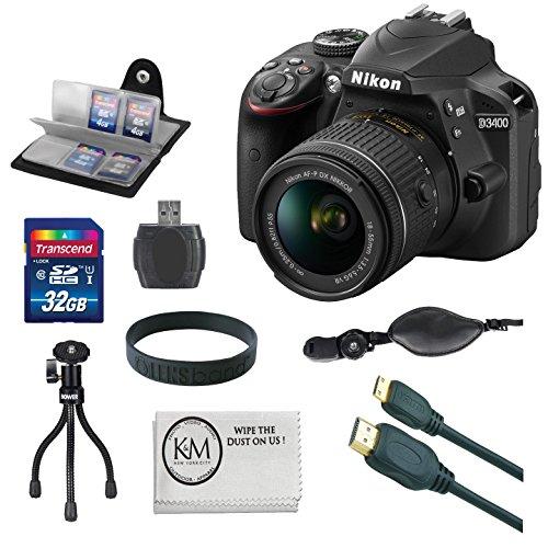 Nikon D3400 (Black) 18-55mm f3.5-5.6G VR Lens + Memory Accessory + Accessory Bundle