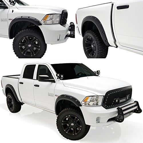 E-Autogrilles 20291 Black Fender Flare (Pocket Rivet Style Front + Rear for 09-15 Dodge Ram 1500) (Fender Flares 2010 Dodge Ram 1500 compare prices)